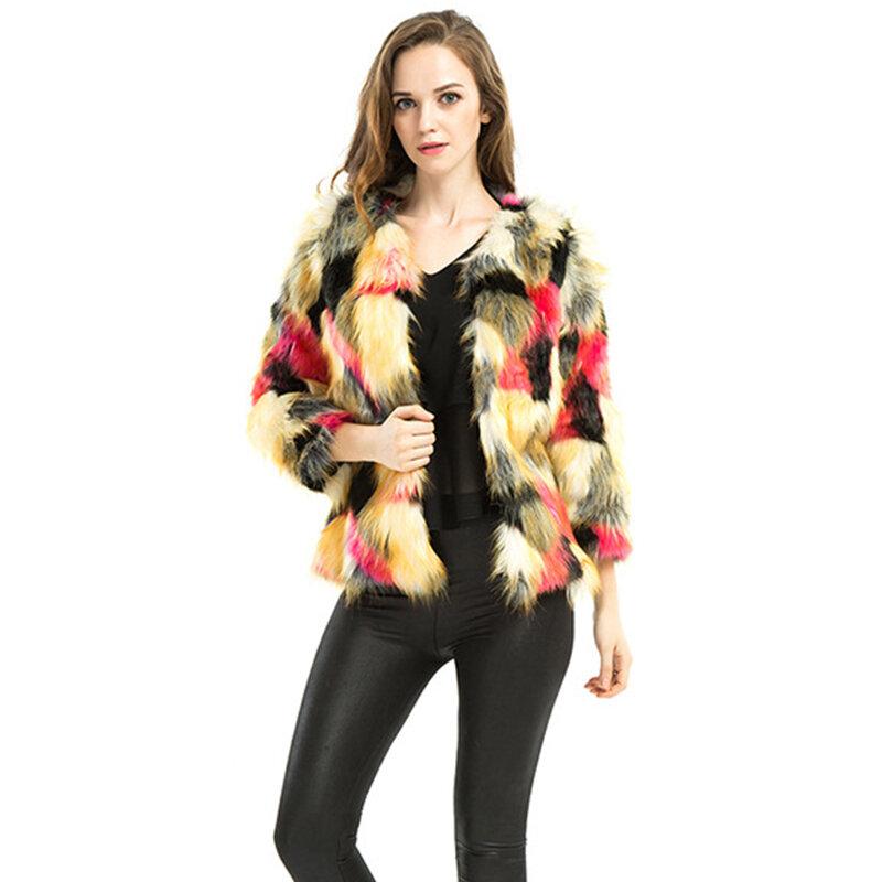 2020 جديد أزياء المرأة الملونة فو الثعلب الفراء معطف تدريجي اللون فو الفراء قصيرة معطف للنساء الإناث قوس قزح معاطف LJLS033