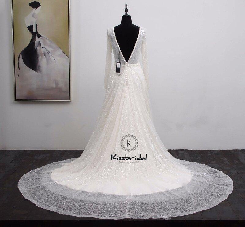 فستان زفاف مع لؤلؤ ، أكمام طويلة ، رسن ، ذيل ، a-line ، مجموعة جديدة 2020