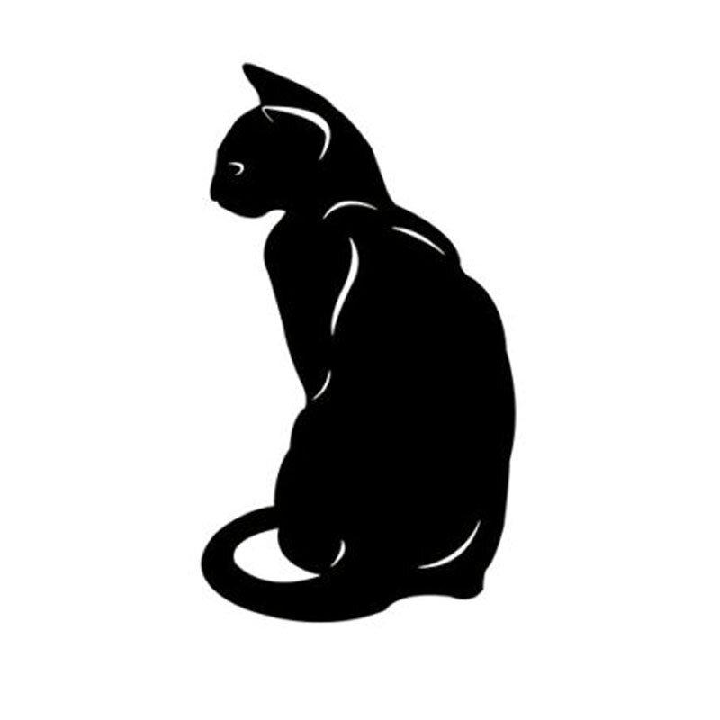 8.4*15 سنتيمتر لطيف الحيوانات الأليفة القط نافذة الزخرفية الشارات الكلاسيكية سيارة التصميم دراجة نارية ملصقات أسود/الفضة C6-0318