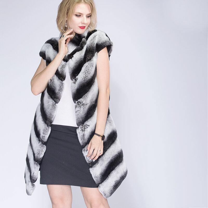 2021 موضة جديدة ريكس الأرنب سترة اليوسفي طوق سميكة الدافئة الفراء الشتاء النساء معطف الفرو الحقيقي الشتاء سترة النساء