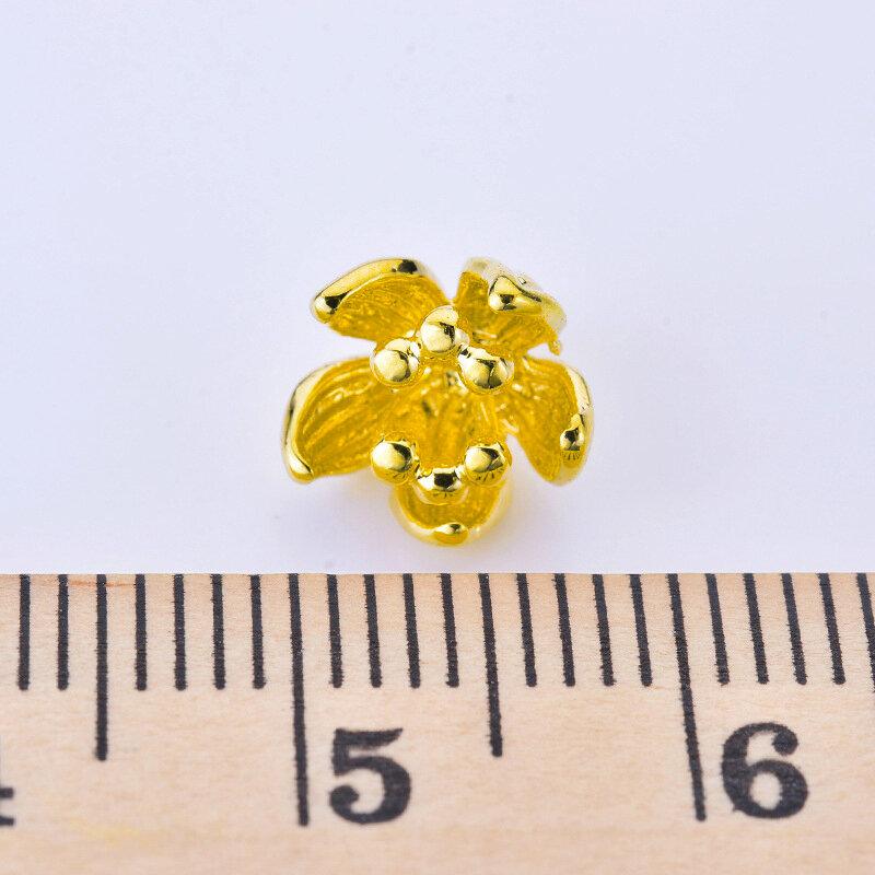 10 قطعة النحاس مطلي الذهب الحقيقي زهرة زهر حبة سحر لسوار صنع المجوهرات