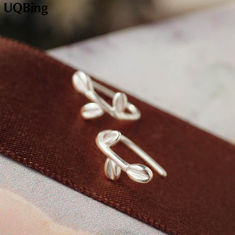 أقراط من الفضة الإسترليني على شكل أوراق شجر للنساء ، أقراط ، 925 فضة استرلينية ، شحن مجاني