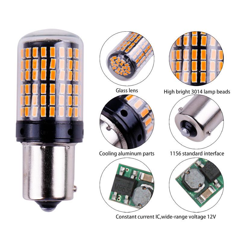 1x3014 144smd في CanBus S25 1156 BA15S P21W LED BAY15D BAU15S PY21W مصباح T20 LED 7440 W21W W21/5W led لمبات ل بدوره مصباح إشارة
