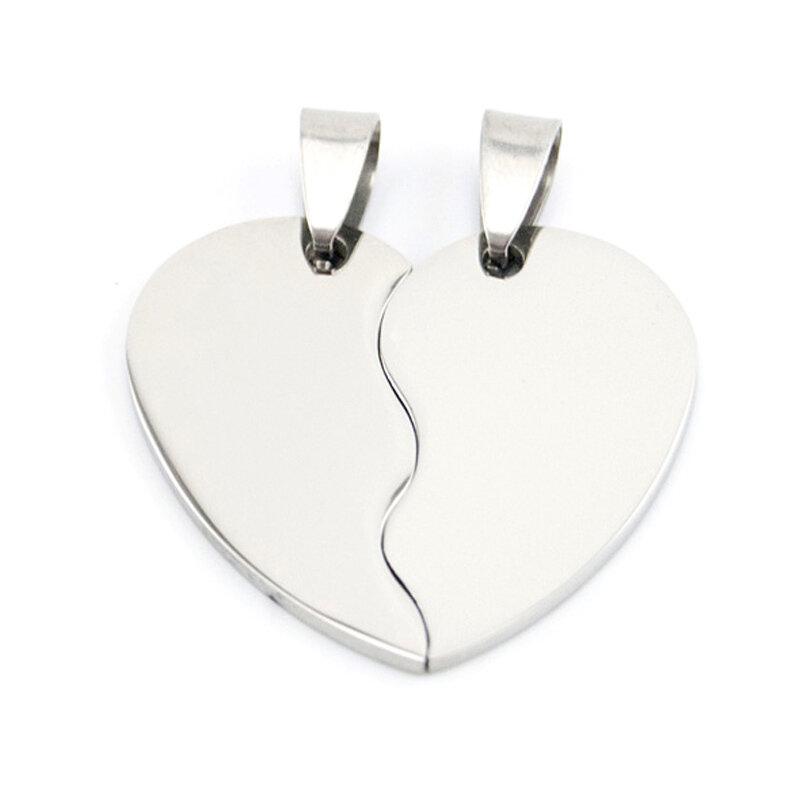 دلايات 2 في 1 من الفولاذ المقاوم للصدأ على شكل قلب للزوجين ، دلايات لصنع المجوهرات