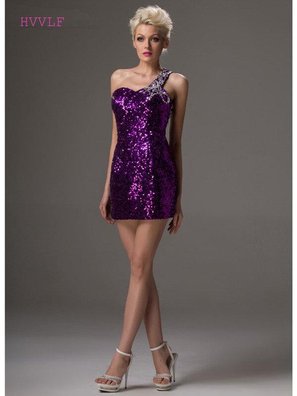 فستان كوكتيل أرجواني ، كتف مكشوف ، قصير ، مطرز بالترتر ، حجم كبير ، فستان سهرة أنيق