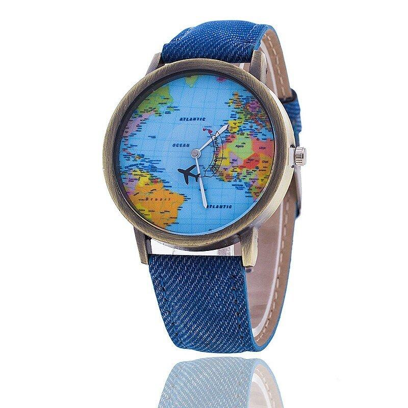 عالية الجودة المرأة موضة ساعة عادية خريطة العالم تصميم فستان السيدات ساعة كوارتز التناظرية جلد النساء هدية النساء الساعات