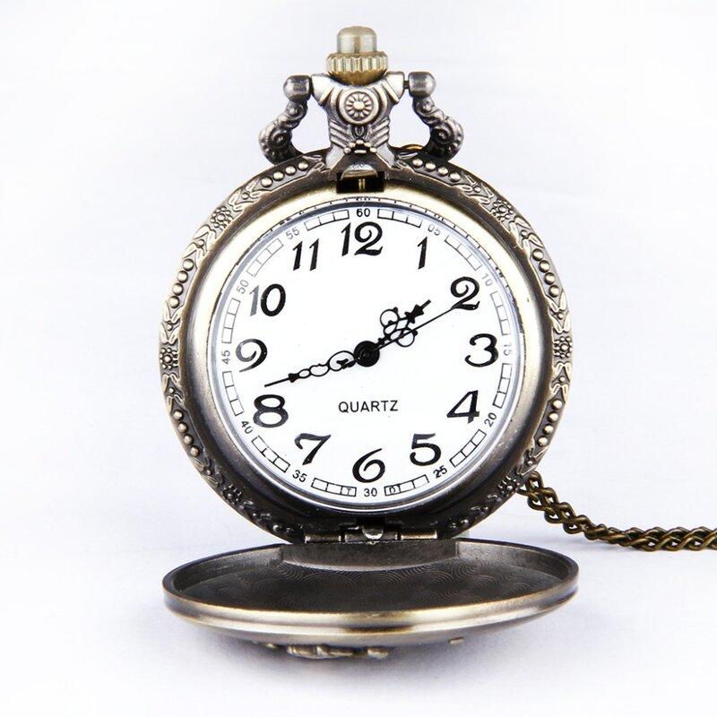 8151 فارس بنتيوم تنقش ساعة جيب الرجعية مصقول فستان برونز عادية الرجال الهدايا موضة ساعة رجالي