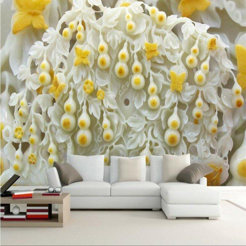 Wellyu مخصصة على نطاق واسع الجداريات اليشم فراشة القرع فولو لا نهاية لها تنقش أريكة التلفزيون حائط الخلفية غير خلفية قماش