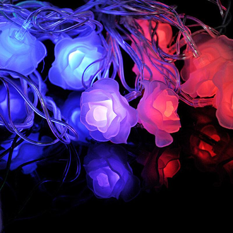 1-2m 10-20led ضوء العيد ، محاكاة وردة Led تعمل بالبطارية ، عيد الميلاد ، الزفاف ، عيد الحب ، الديكور