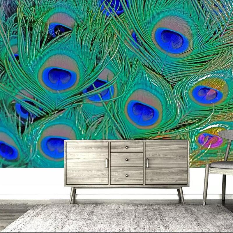 Wellyu-خلفية خضراء كبيرة مخصصة مع ريش الطاووس ، ورق جدران التلفزيون