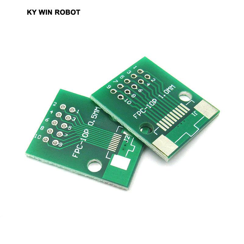 شحن مجاني 5 قطعة/الوحدة ضعف الجانب 0.5 مللي متر 1 مللي متر FFC الشركة العامة للفوسفات 10 P 10 دبوس إلى 2.54 مللي متر DIP Moudle شكل PCB مجلس محول المقبس لوحة