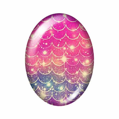 موازين أسماك بيضاوية ملونة ، 13 × 1 ، 8 مللي متر/18 × 2 ، 5 مللي متر/30 × 40 مللي متر ، كابوشون زجاجي مختلط ، صورة تجريبية ، ظهر مسطح ، مجوهرات TB0041