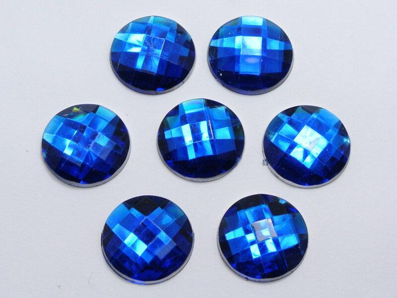 50 خرز من أحجار الراين الأكريليك الأزرق الملكي ، أحجار كريمة مستديرة 20 مللي متر بدون ثقب