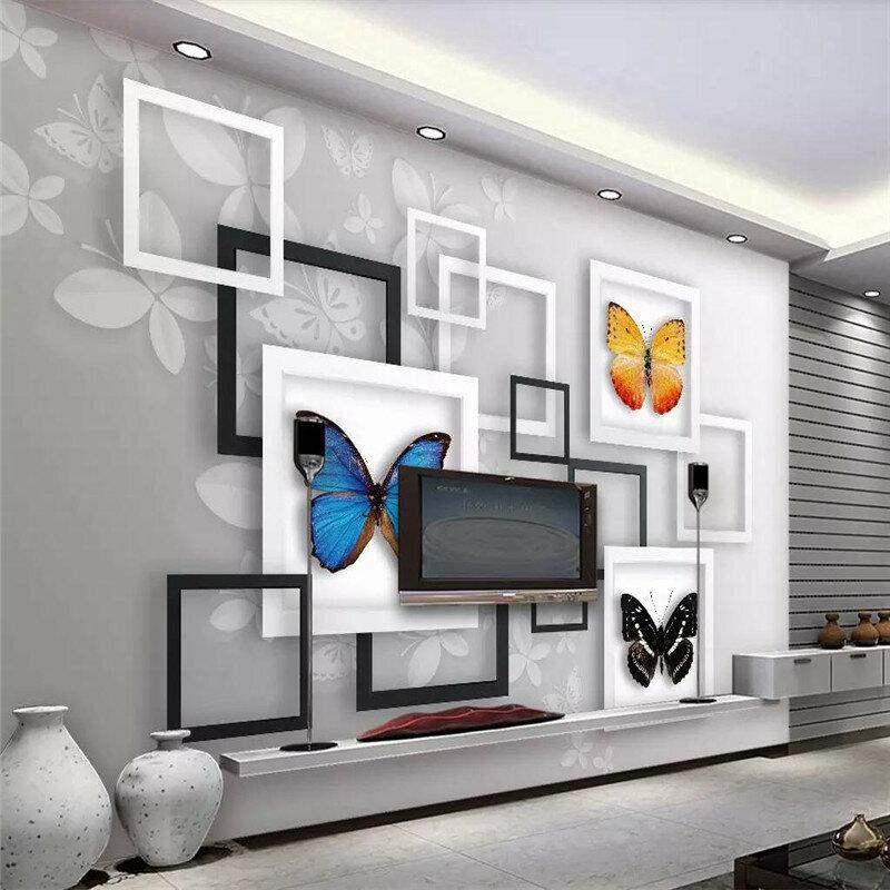 3D الخيال فراشة المعيشة غرفة التلفزيون حائط الخلفية المهنية إنتاج جدارية خلفية مخصصة المشارك الصورة جدار