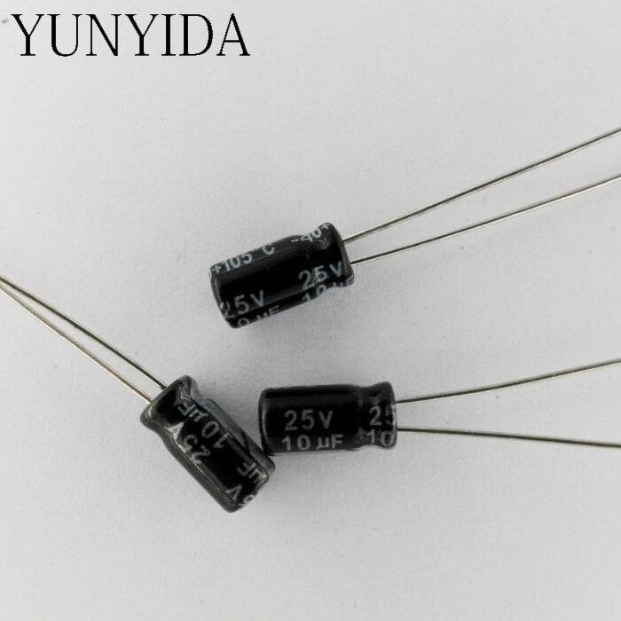 الألومنيوم كهربائيا مكثف 25V 10 فائق التوهج 4*7 مللي متر 50 قطعة