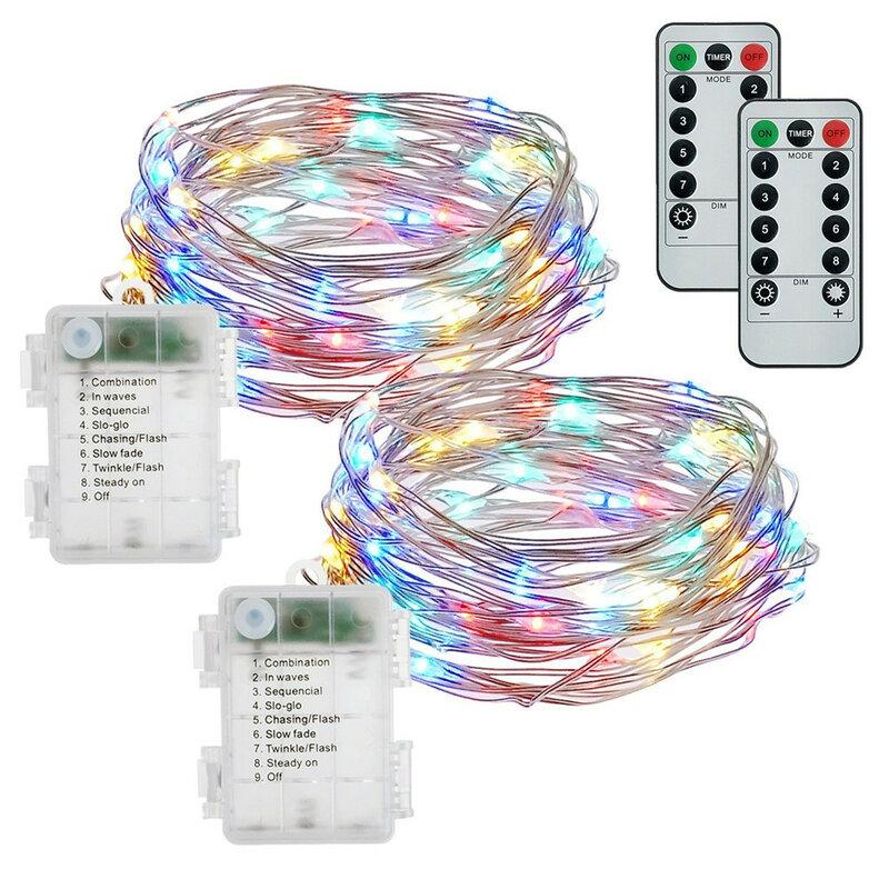 الجنية سلسلة أضواء AA بطارية تعمل 8 وسائط التحكم عن بعد النحاس الفضة سلك أضواء ل الزفاف حزب مهرجان الديكور