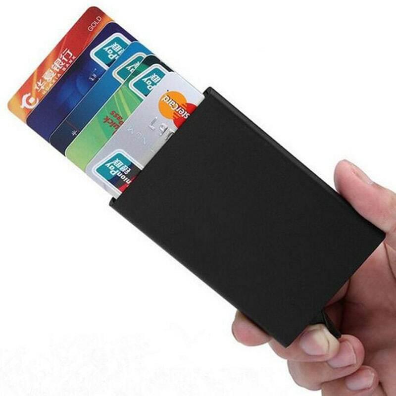 حامل بطاقة الائتمان الرجال سليم مكافحة حماية السفر معرف حامل بطاقة النساء محفظة بشريحة Rfid حافظة معدنية بورت كارت