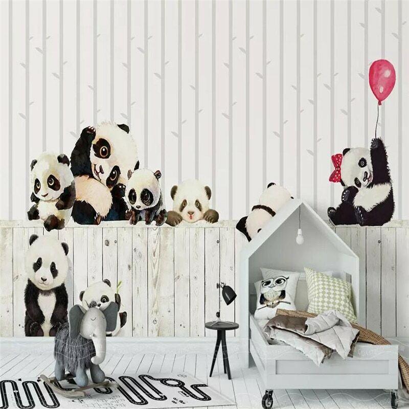 الكرتون الباندا الأطفال غرفة حائط الخلفية المهنية إنتاج جدارية الجملة خلفيات المشارك الصورة جدار