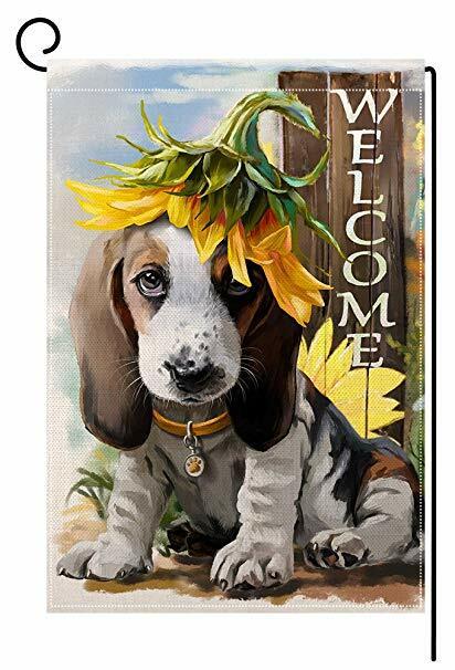 علم حديقة عباد الشمس ، ملصق ترحيب ، كلب ، فناء معلق ، 12 بوصة × 18 بوصة