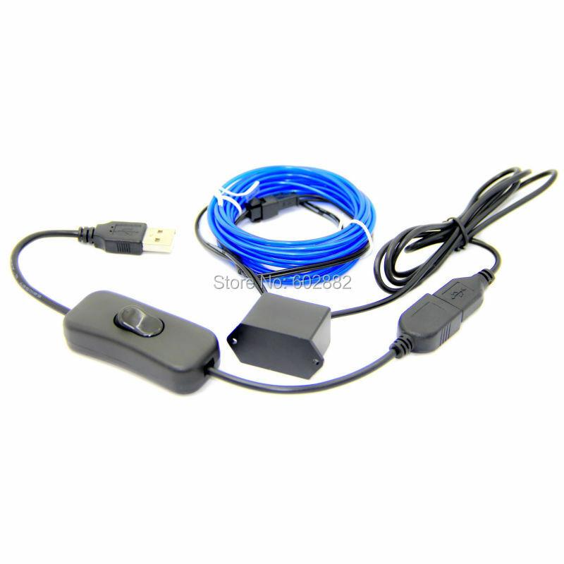 3 متر (2.3 مللي متر) سلك el + محول USB 5 فولت مع مفتاح USB + مزيج الطلب متوفر