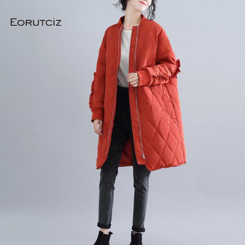 EORUTCIZ-سترة شتوية سميكة للنساء ، سترة طويلة دافئة ، معطف سميك ، عتيق ، Harajuku ، خريف ، ملابس خارجية LM126