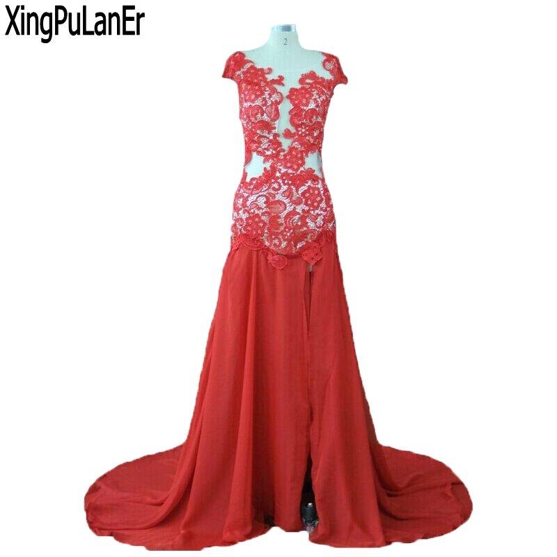 XingPuLanEr-فستان سهرة أنيق ، حورية البحر ، أكمام ، رقبة مغرفة ، دانتيل أحمر ، شيفون حريري ، ظهر مفتوح