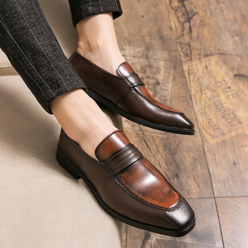 YRZL أحذية من الجلد الرجال الربيع الخريف الأعمال الانزلاق على المتسكعون الرجال حذاء كاجوال حجم كبير 48 حذاء رجالي جلد