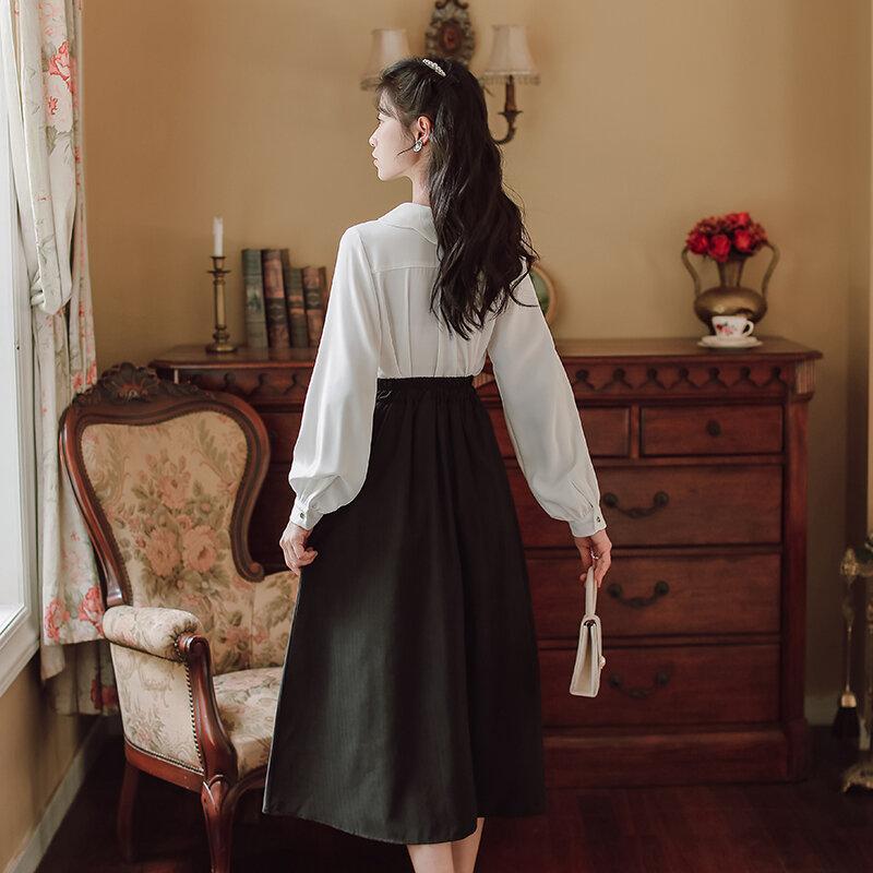 فيلم ليس أقل من 】 【 بقعة طويلة الأكمام قميص الإناث الإفراط في الركبة التنانير الدعاوى الموضة