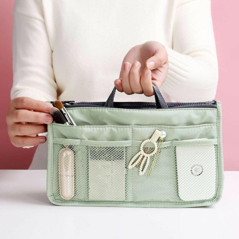المرأة المحمولة ماكياج المنظم مقاوم للماء متعددة الوظائف حقيبة سفر لمستحضرات التجميل الضروري أدوات الزينة كيس التخزين الملحقات