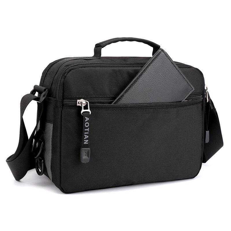 صيف جديد أفقي الرجال حقيبة كتف مقاوم للماء متعدد الطبقات حقيبة ساعي الترفيه الرياضة حقيبة يد خفيفة الوزن حقيبة صغيرة