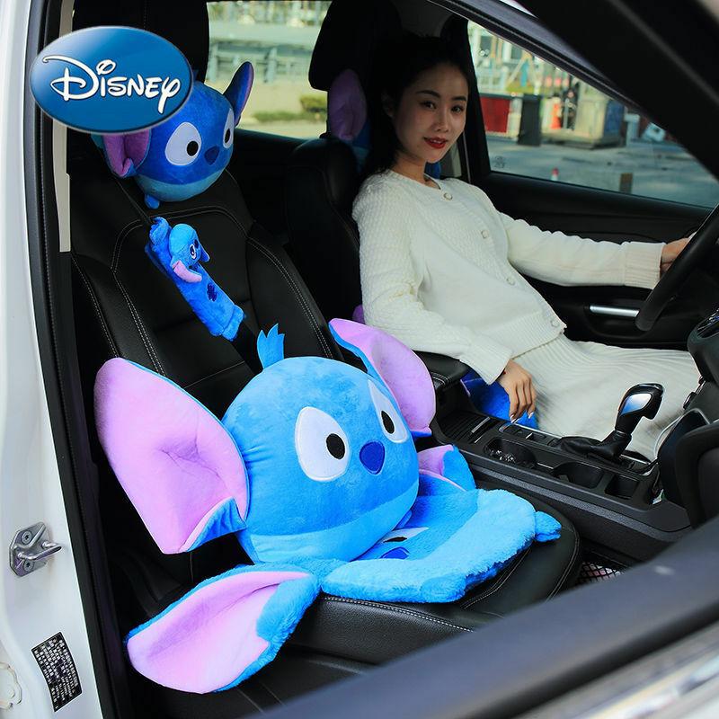 ديزني سيارة مسند الرأس وسادة الخصر حارس الكتف الواقي الذكري ديكور السيارات الداخلي خياطة الكرتون لطيف