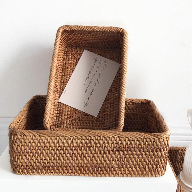 المنسوجة يدويا مستطيلة الروطان سلة خوص شاي الفواكه وجبة خفيفة الخبز نزهة صندوق تخزين مستحضرات التجميل لوازم المطبخ الأدوات المنزلية