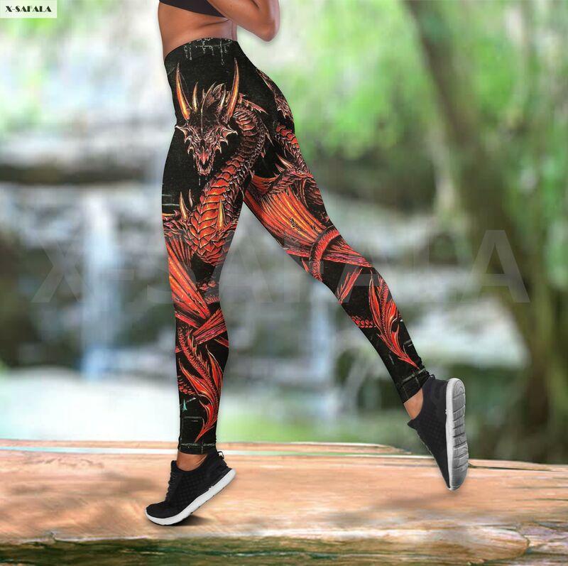 القوطية التنين قطعتين اليوغا مجموعة النساء ثلاثية الأبعاد طباعة سترة الجوف خارج تانك توب عالية الخصر يغطي الرجل الصيف رياضية غير رسمية