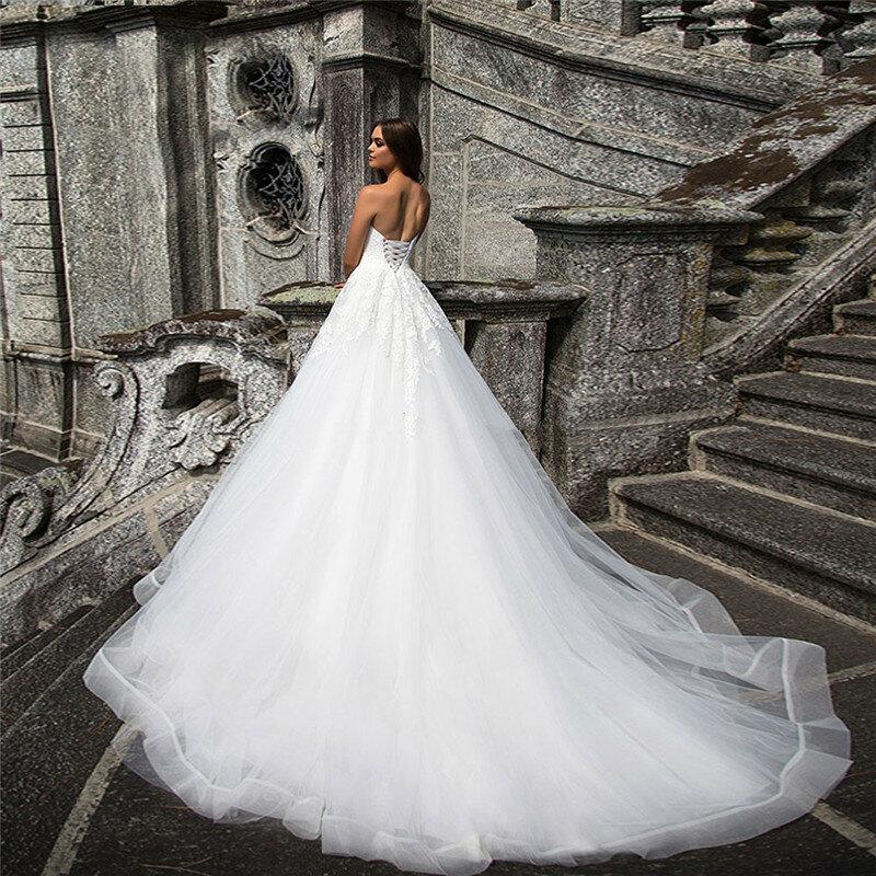 فستان زفاف من التول والدانتيل ، على شكل قلب ، خط a ، ظهر برباط ، أبيض ، مثير ، فستان رسمي ، مجموعة 2021