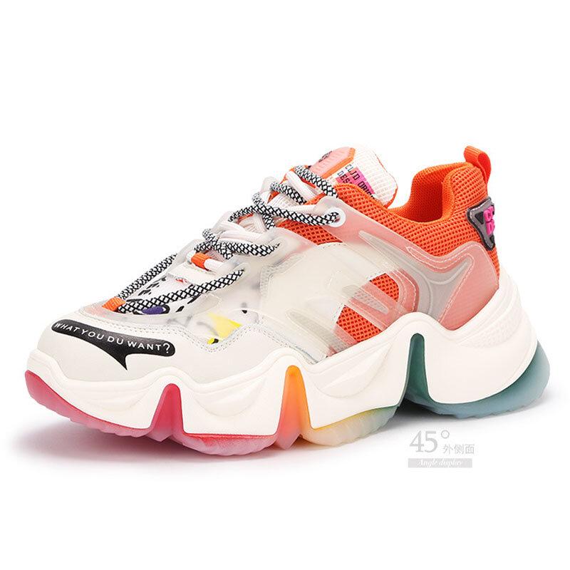 صيف جديد قوس قزح أسفل قديم أبي أحذية نسائية هلام أحذية سميكة سوليد أحذية رياضية غير رسمية المرأة تنفس حذاء أبيض صغير