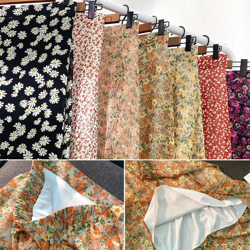 طباعة تنورة الإناث ماكسي تنورة الشاطئ حجم كبير S-3XL 2021 الربيع الصيف عالية الخصر الشيفون النساء التنانير الأزهار غير رسمية