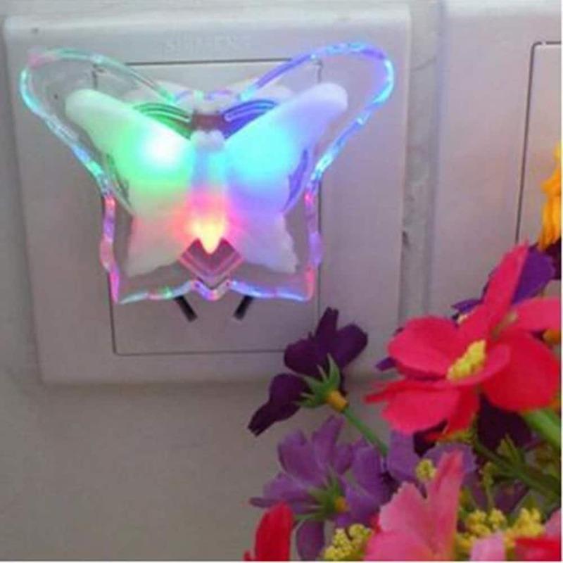 اشتر 1 Get 1 for Free LED ضوء الليل فراشة شكل مصباح الليل رومانسية المقبس ضوء توفير الطاقة ليلة ضوء غرفة ديكور