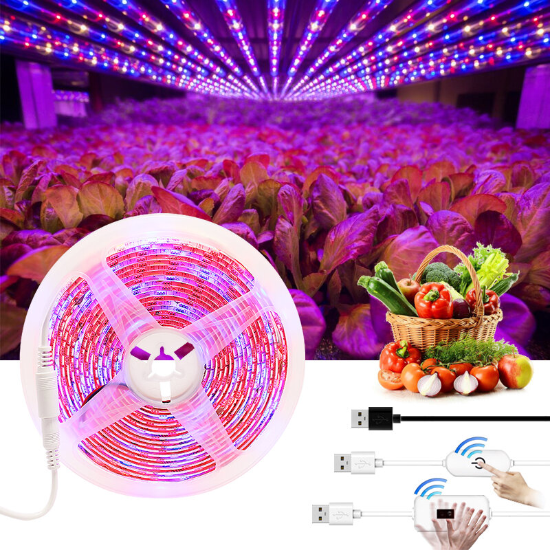 تنمو شرائط ليد الطيف الكامل ضوء داخلي تزايد مصابيح مصباح ل مصنع SMD2835 5 فولت USB فيتو الشريط LED زهرة حوض السمك تنمو ضوء
