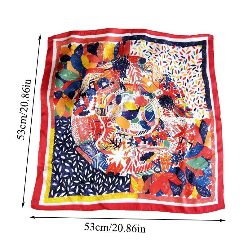 طباعة منديل 1 قطعة الأوشحة الحريرية الصغيرة الملونة الحجاب وشاح مربع رئيس الرقبة الشعر التعادل الفرقة DIY بها بنفسك الشعر وشاح عقال