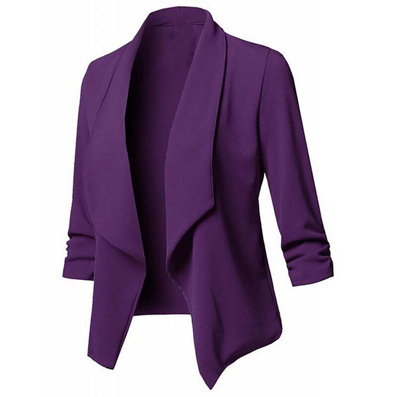 موضة جديدة 2021 السترة معطف المرأة بلازير الموضة بلوزة عادية الصلبة سترة أمامية مفتوحة طويلة الأكمام سترة معطف السترة feminino