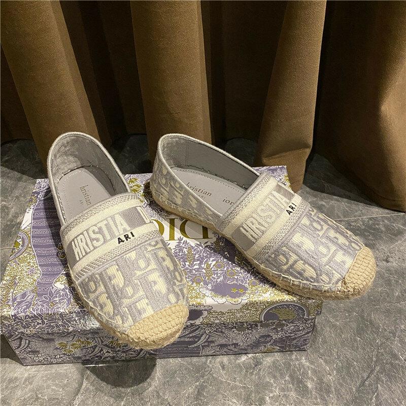 المرأة الصيف 2021 جديد الكتان العشب كسول شقة عادية أسفل مطرزة إلكتروني الأحذية صياد
