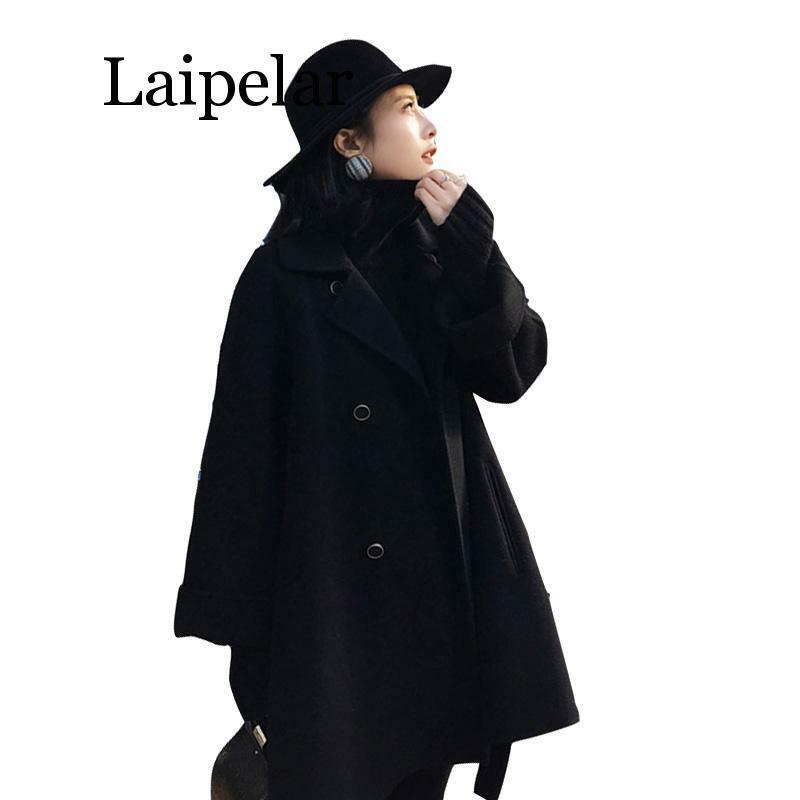 النساء طويل معاطف الخريف الشتاء الصلبة عارضة طويلة الأكمام عباءة زر مزدوجة الصدر الإناث معطف أسود مع حزام أنيقة الملابس