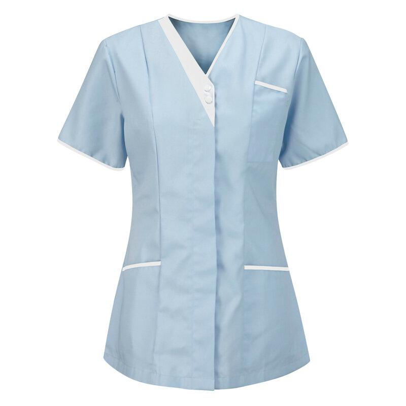 الصلبة المرأة بلوزة قصيرة الأكمام زهرة مطبوعة الخامس الرقبة نمط بلايز التمريض زي العمل قمصان جيب ملابس حريمي