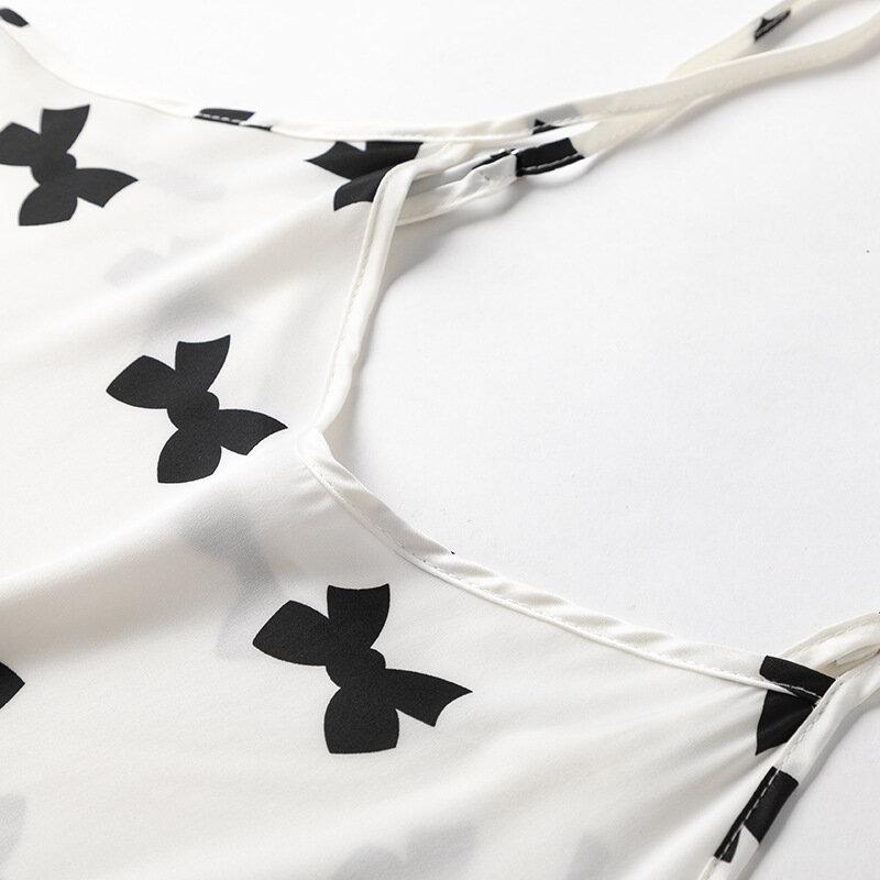 طقم بيجامات حريمي صيفي مثير بحمالات شورت ملابس نوم بدلة نوم بفيونكة مطبوعة بيضاء بيجاما من أجل فام ملابس منزلية من الساتان والحرير بيجاما