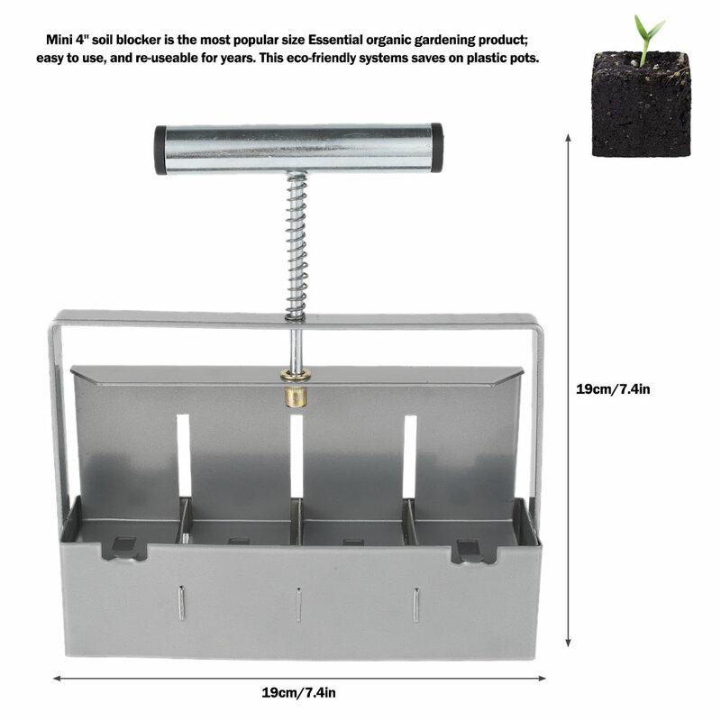 دليل رباعية مانع التربة المصغرة 4 باليد صانع كتلة التربة أداة حجب التربة لشتلات قطع حديقة الدفيئة ، دبابيس البذور