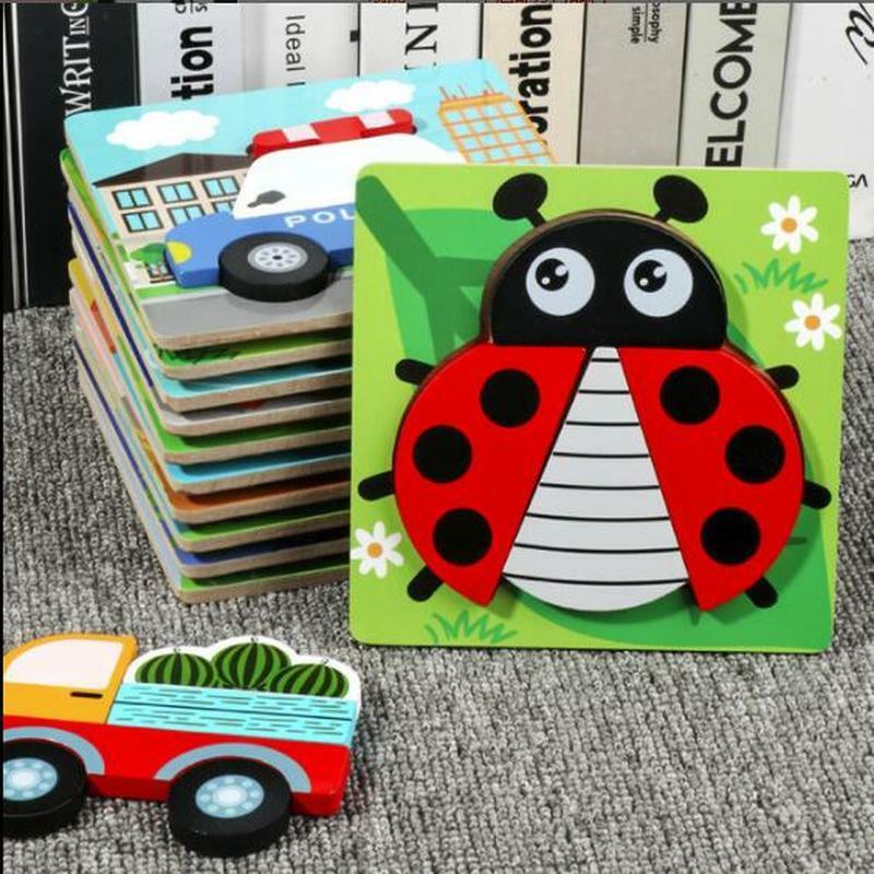 أحجية الصور المقطوعة الخشبية ثلاثية الأبعاد للأطفال ، لعبة تعليمية للأطفال ، حيوانات كرتونية معرفية ، مكعبات تعليمية للأطفال ، لعبة ذكاء ، ت...