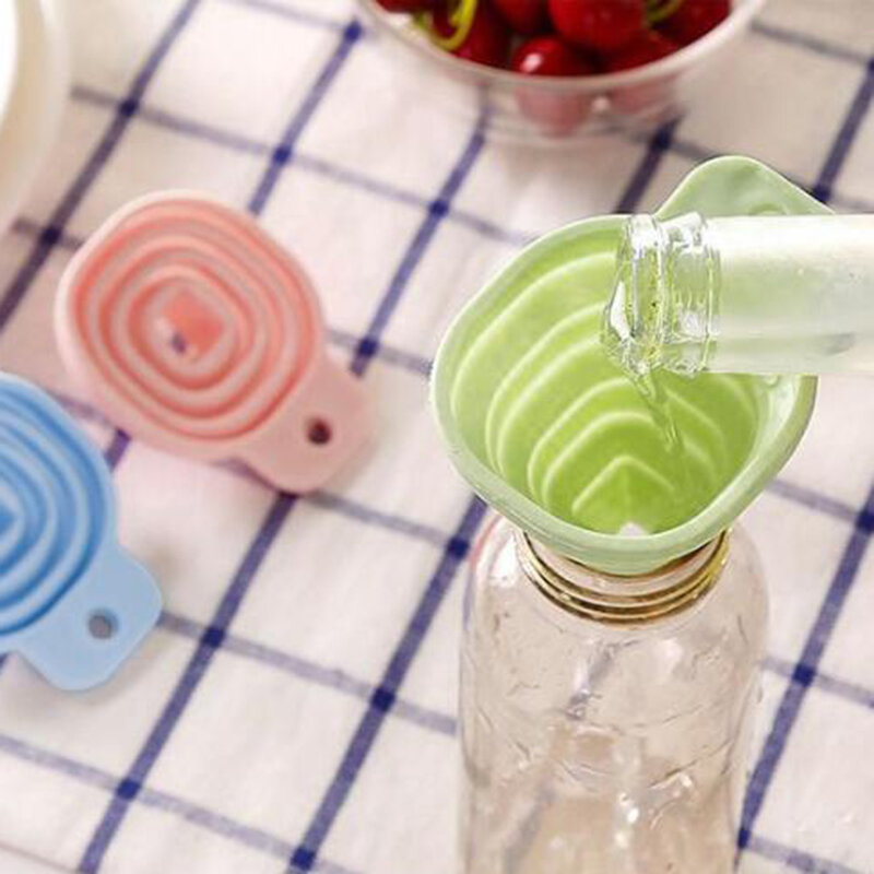 أداة مطبخ لينة قابلة للطي لتقوم بها بنفسك قمع سيليكون قابل للطي الغذاء الصف السائل المنزلية الاستغناء عن قمع صغير زجاجة زيت قابلة للطي