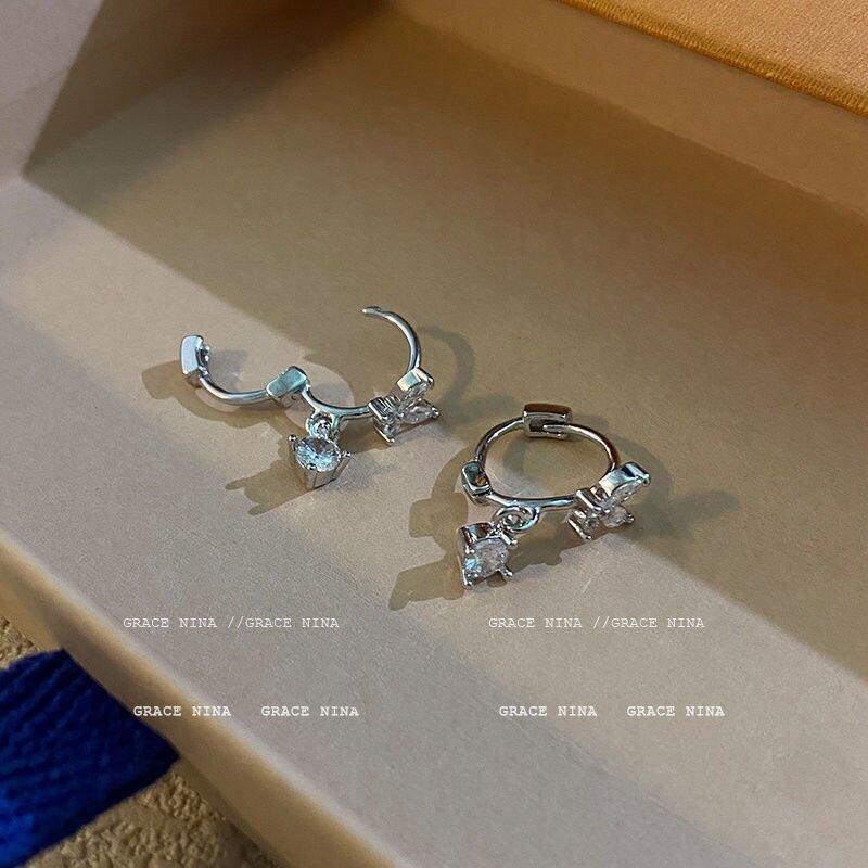 S925 الفضة إبرة وأقراط موضة السيدات الأذن مشبك فراشة أقراط شخصية السيدات موضة الماس أقراط
