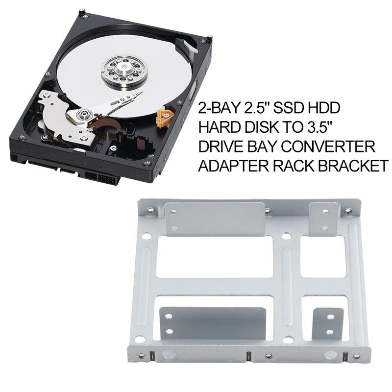 الألومنيوم 2-خليج 2.5 بوصة SSD محرك أقراص صلبة HDD إلى 3.5 بوصة محرك خليج محول محول رف قوس مع 12 مسامير