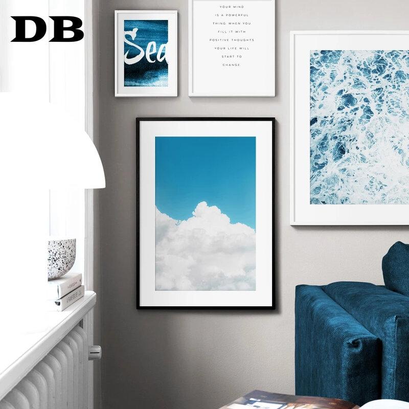 الأزرق البحر موجة السماء سحابة جبل يقتبس الرسم على لوحات القماش الجدارية الشمال الملصقات و يطبع جدار صور لغرفة المعيشة ديكور